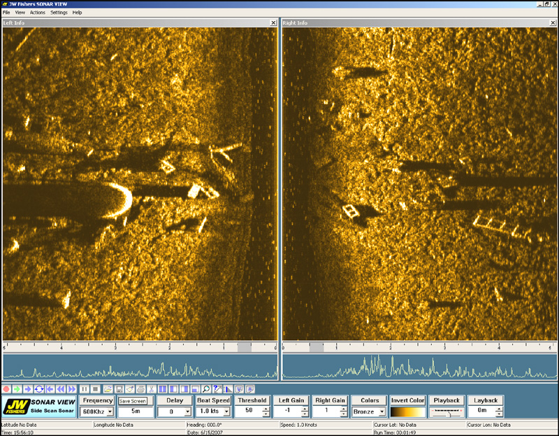 Side Scan image showing debris off Bridge