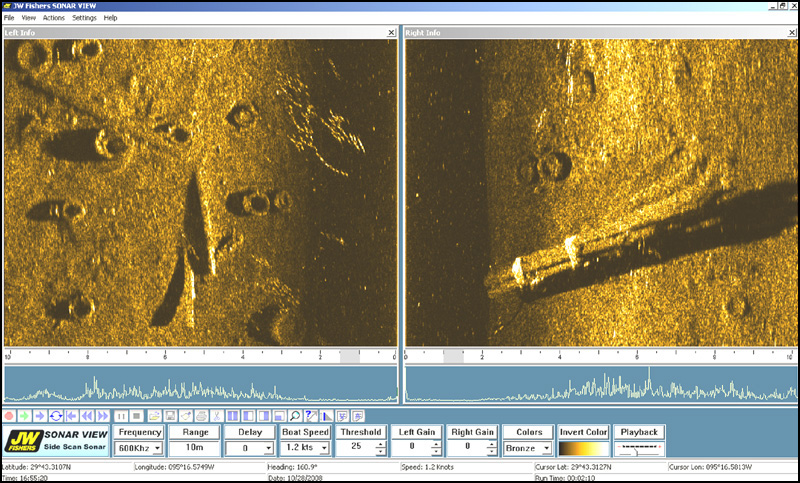 Side Scan image shows Mud Covered Tires and Banded Pilings (on right)