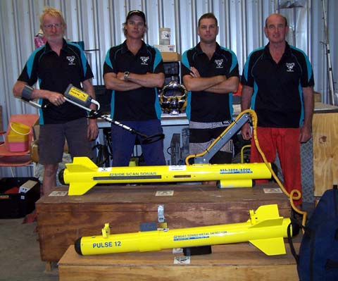 Men posing with Side Scan Sonar